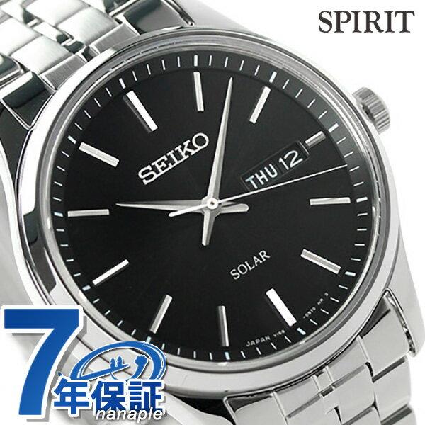 セイコー スピリット ソーラー メンズ SBPX069 SEIKO SPIRIT 腕時計 ブラック 時計
