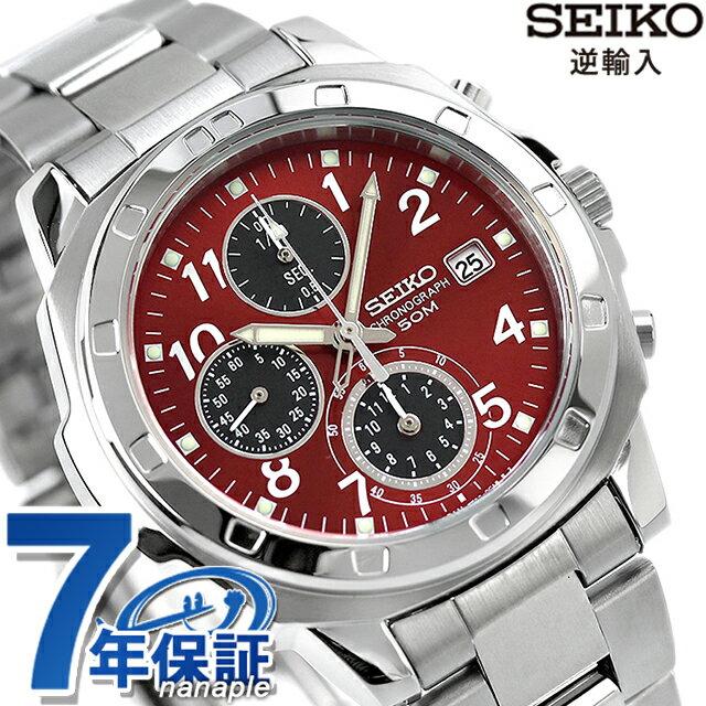 セイコー 逆輸入 海外モデル 高速クロノグラフ SND495P1 (SND495PC) SEIKO メンズ 腕時計 クオーツ レッド×ブラック 時計【あす楽対応】