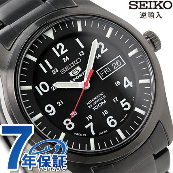 セイコー 逆輸入 海外モデル 5 スポーツ 日本製 SNZG17J1(SNZG17JC) SEIKO 自動巻き メンズ 腕時計 オールブラック 時計【あす楽対応】