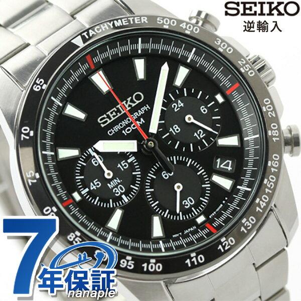 セイコー 逆輸入 海外モデル クロノグラフ クオーツ SSB031P1(SSB031PC) SEIKO メンズ 腕時計 ブラック 時計【あす楽対応】