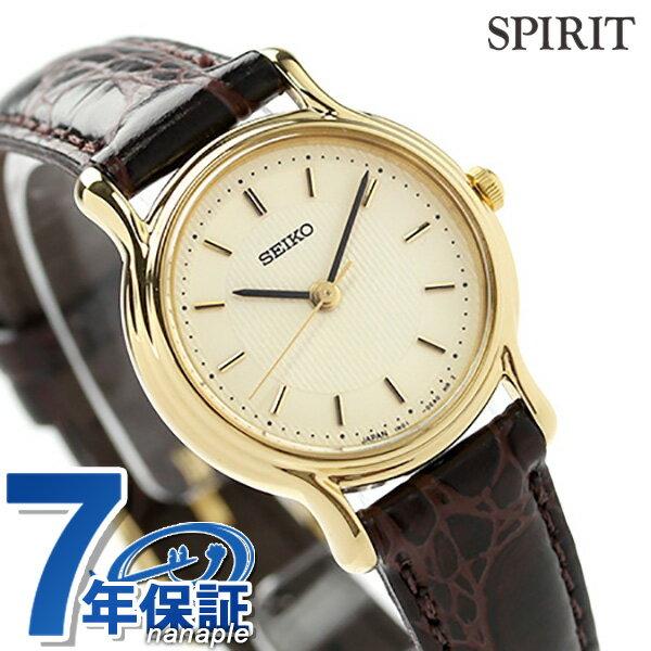 セイコー スピリット レディース 腕時計 SSDA034 SEIKO SPIRIT クオーツ アイボリー×ブラウン レザーベルト 時計