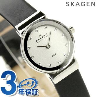Scar gene SKAGEN watch steel Lady's black leather silver 358XSSLBC