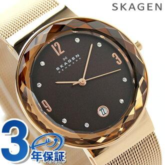 Scar gene Lady's watch quartz SKW2068 SKAGEN brown X pink gold metal belt