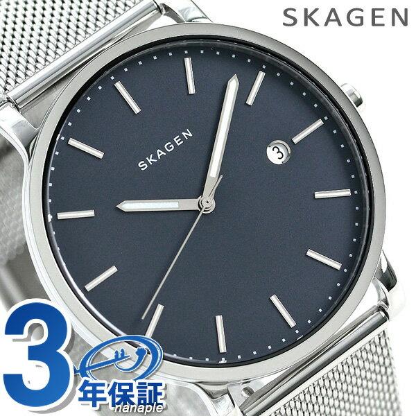 スカーゲン 時計 メンズ ハーゲン 40mm カレンダー クオーツ SKW6327 ネイビー SKAGEN 腕時計【あす楽対応】