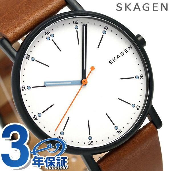 【エントリーだけでポイント3倍 27日9:59まで】 スカーゲン メンズ シグネチャー 40mm 革ベルト 腕時計 SKW6374 SKAGEN シルバー×ブラウン 時計