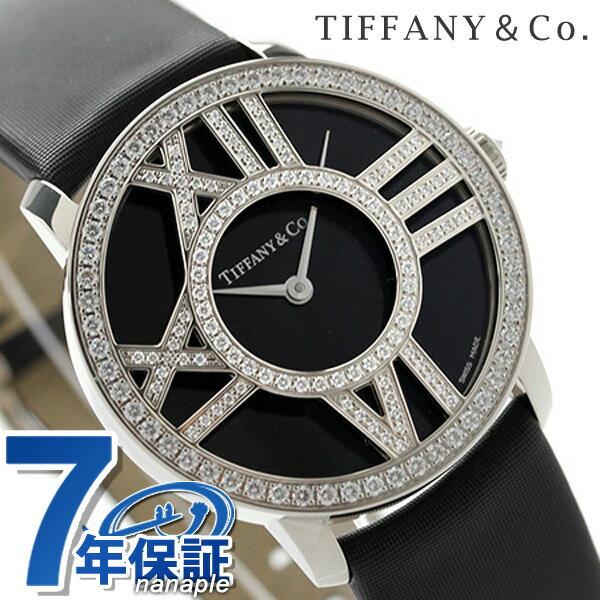 ティファニー アトラス カクテル ラウンド 30mm K18WG Z1901.10.40E10A40B TIFFANY&Co. レディース 腕時計 ダイヤモンド ブラック サテンレザー 新品 時計