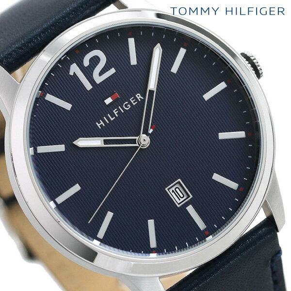 トミーヒルフィガー メンズ 腕時計 カレンダー 44mm 革ベルト デーモン 1791496 TOMMY HILFIGER ネイビー 時計