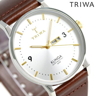 Thoria TRIWA クリンガグリーム 38mm watch KLST104-CL010312 silver X red brown