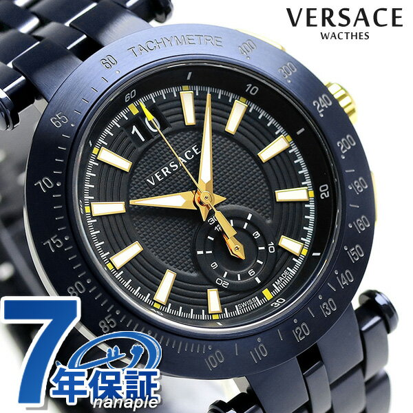 ヴェルサーチ 時計 メンズ VERSACE 腕時計 Vレース 42MM クロノグラフ スイス製 VAH050016 ブラック【あす楽対応】