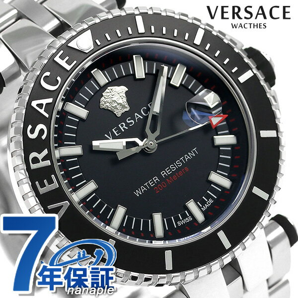 ヴェルサーチ 時計 メンズ VERSACE 腕時計 Vレース ダイバー 46mm クオーツ VAK030016 ブラック
