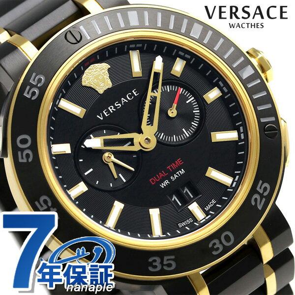 ヴェルサーチ V-エクストリーム プロ 46mm スイス製 VCN040017 VERSACE メンズ 腕時計 ブラック 時計