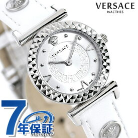 20日なら全品5倍以上で店内ポイント最大42倍! ヴェルサーチ 時計 レディース 腕時計 ミニ バニティ スイス製 VEAA00218 VERSACE シルバー×ホワイト 革ベルト 新品
