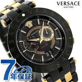 ヴェルサーチ 時計 メンズ 腕時計 Vレース デュアルタイム 46mm VEBV00619 VERSACE ヴェルサーチェ ブラック×ゴールド【あす楽対応】