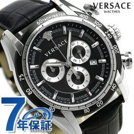20日なら全品5倍以上で店内ポイント最大42倍! ヴェルサーチ 時計 メンズ 腕時計 V-レイ クロノグラフ スイス製 VEDB00118 VERSACE ブラック 革ベルト 新品