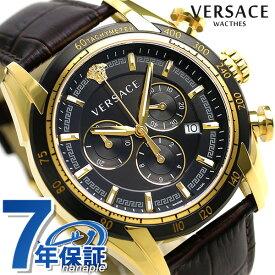 20日なら全品5倍以上で店内ポイント最大42倍! ヴェルサーチ 時計 メンズ 腕時計 V-レイ クロノグラフ スイス製 VEDB00318 VERSACE ブラック×ダークブラウン 革ベルト 新品