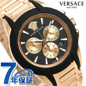 e10009343e ヴェルサーチ 時計 メンズ 腕時計 キャラクター クロノグラフ スイス製 VEM800318 VERSACE ブラック×ピンクゴールド 新品