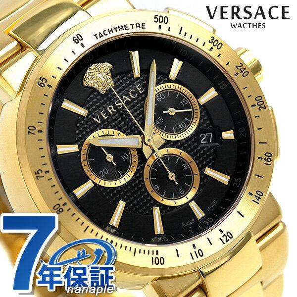 ヴェルサーチ 時計 メンズ VERSACE 腕時計 ミスティック スポーツ 46mm クロノグラフ VFG190016 ブラック