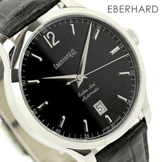 诶,贝拉尔特别错误手表人自动卷日期黑色皮革皮带EBERHARD 41029.2