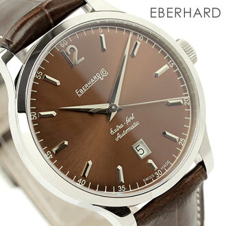 诶,贝拉尔特别错误手表人自动卷日期棕色皮革皮带EBERHARD 41029.3