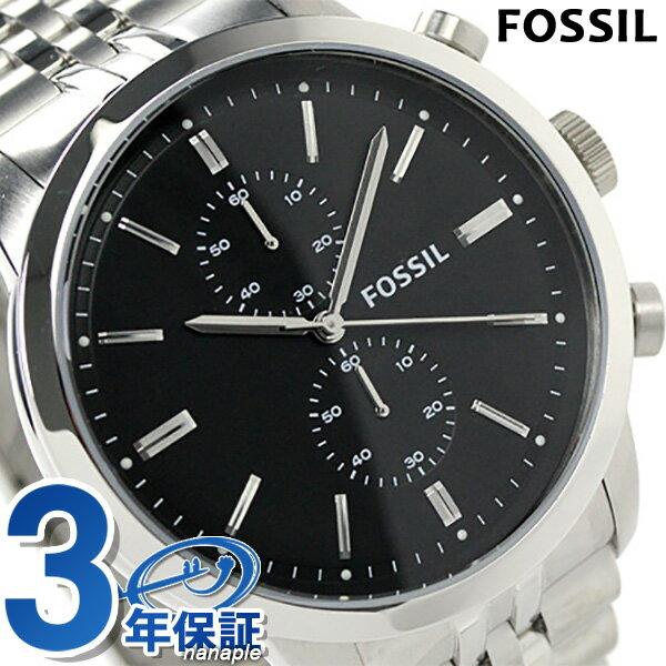 フォッシル タウンズマン クロノグラフ メンズ FS4784 クオーツ FOSSIL 腕時計 ブラック