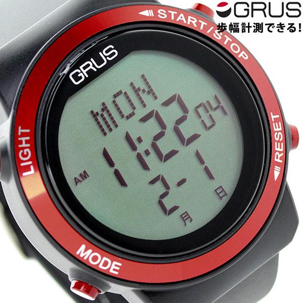 グルス ウォーキングウォッチ 腕時計 GRS001-01 GRUS レッド×ブラック 時計