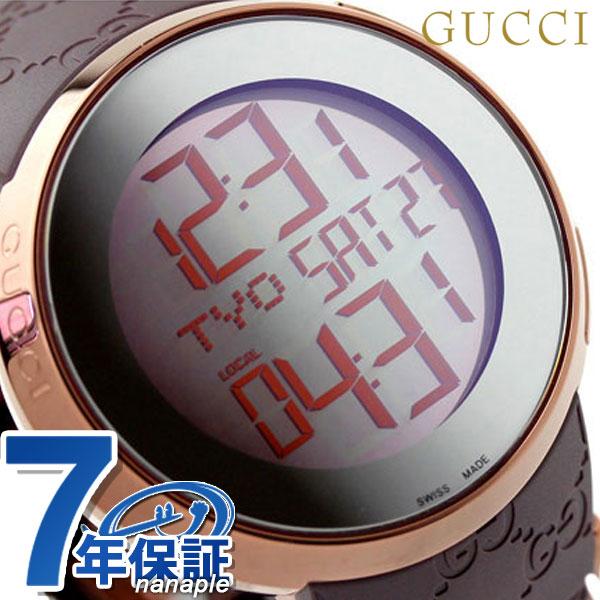 グッチ 時計 メンズ GUCCI 腕時計 アイ114 デジタル ミラー × ブラウンラバー YA114209【あす楽対応】