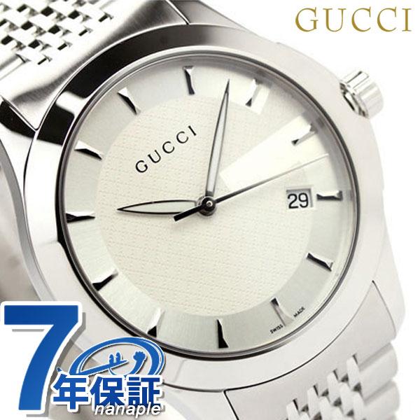 【25日なら全品5倍以上!店内ポイント最大46倍】 グッチ 時計 メンズ GUCCI 腕時計 Gタイムレス ホワイト YA126401【あす楽対応】