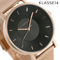KLASSE14等級14 vorare 42MM男女兩用手錶VO16RG006M黑色×玫瑰黄金
