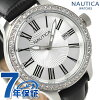Nautica quartz Lady's watch A12652M NAUTICA BFD101 date M silver X black leather belt clock