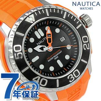 노티카 손목시계 솔러 NMX 1000 맨즈 블랙×오렌지 러버 벨트 NAUTICA A26538G