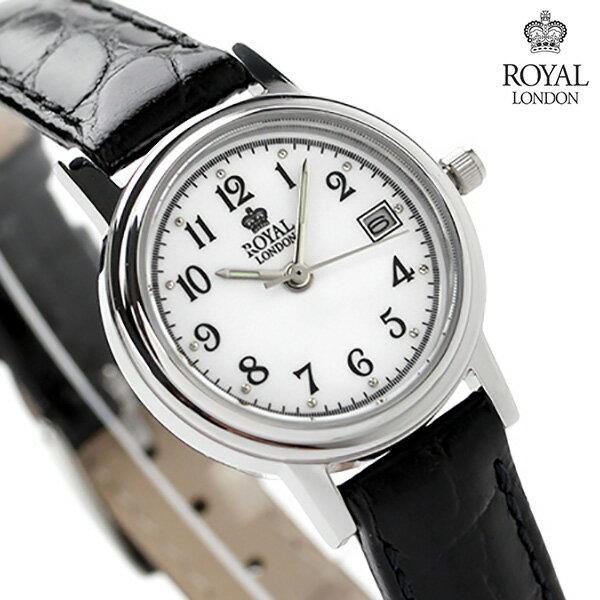ロイヤルロンドン レディース 腕時計 クオーツ 20001-01 ROYAL LONDON ホワイト×ブラック レザーベルト 時計