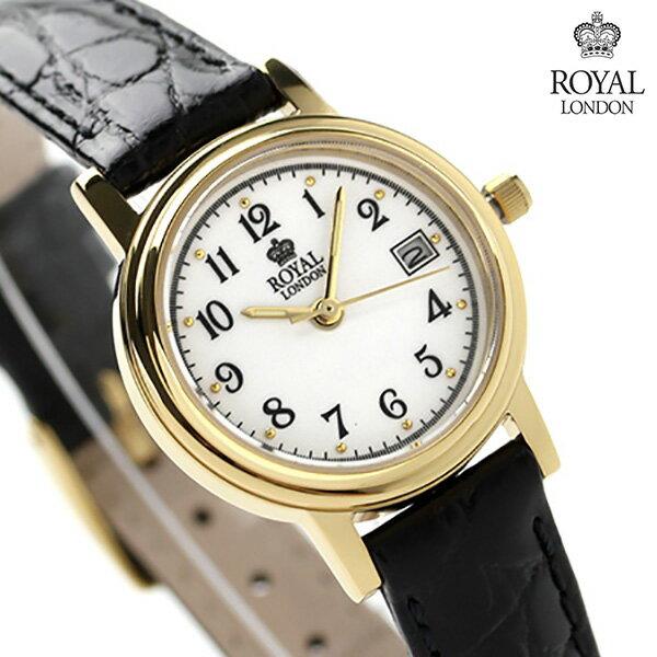 ロイヤルロンドン レディース 腕時計 クオーツ 20001-02 ROYAL LONDON ホワイト×ブラック レザーベルト 時計