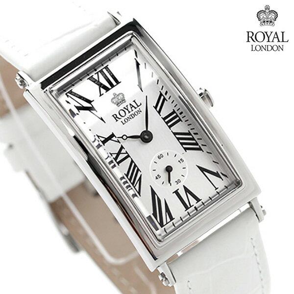 ロイヤルロンドン レディース 腕時計 クオーツ 21210-01 ROYAL LONDON スモールセコンド シルバー×ホワイト レザーベルト 時計