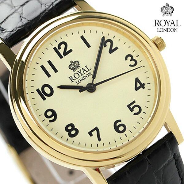 ロイヤルロンドン メンズ 腕時計 クオーツ 40000-04 ROYAL LONDON クリーム×ブラック レザーベルト 時計
