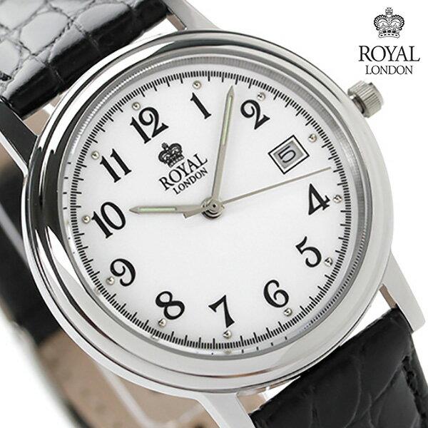 ロイヤルロンドン メンズ 腕時計 クオーツ 40001-01 ROYAL LONDON ホワイト×ブラック レザーベルト 時計