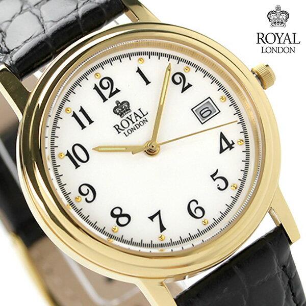 ロイヤルロンドン メンズ 腕時計 クオーツ 40001-02 ROYAL LONDON ホワイト×ブラック レザーベルト 時計