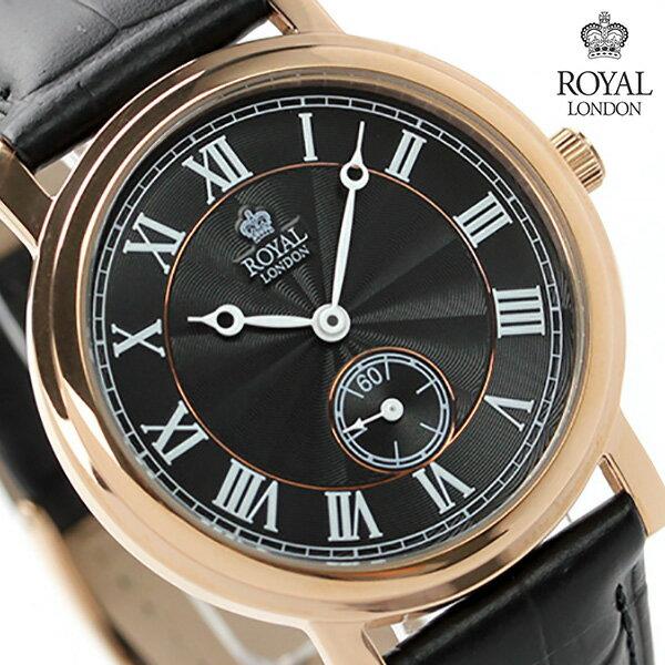 ロイヤルロンドン メンズ 腕時計 クオーツ 40069-05 ROYAL LONDON スモールセコンド ブラック レザーベルト 時計