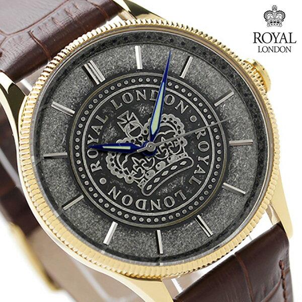 ロイヤルロンドン メンズ 腕時計 クオーツ 41108-02 ROYAL LONDON グレー×ブラウン レザーベルト 時計