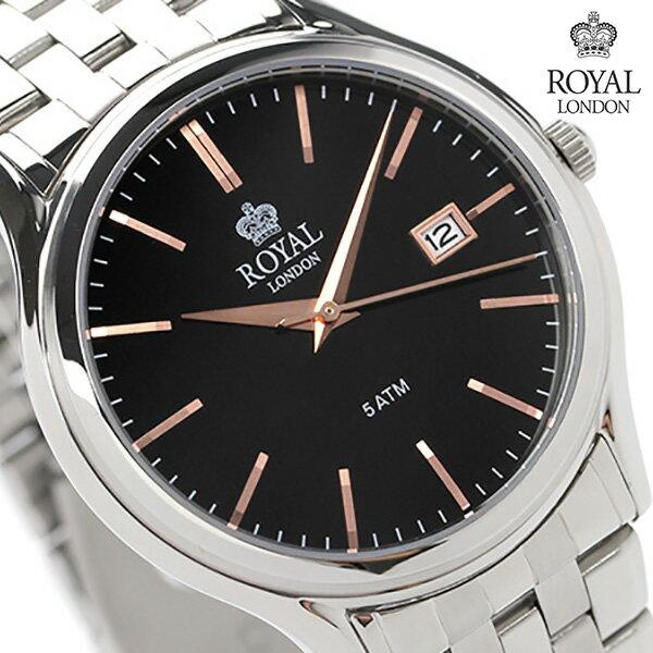 ロイヤルロンドン メンズ 腕時計 クオーツ 41187-02 ROYAL LONDON ブラック 時計