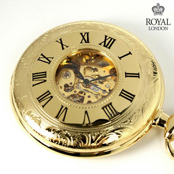 ロイヤルロンドン 懐中時計 手巻き 90009-01 ROYAL LONDON ポケットウォッチ スケルトン×ゴールド 時計