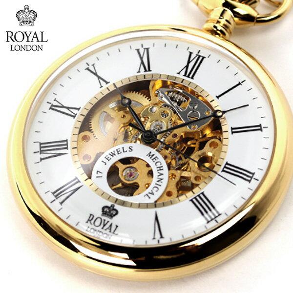 ロイヤルロンドン 懐中時計 手巻き 90049-02 ROYAL LONDON ポケットウォッチ スケルトン×ゴールド 時計
