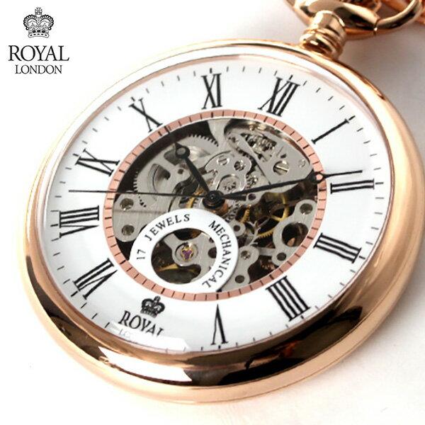 ロイヤルロンドン 懐中時計 手巻き 90049-03 ROYAL LONDON ポケットウォッチ スケルトン×ローズゴールド 時計