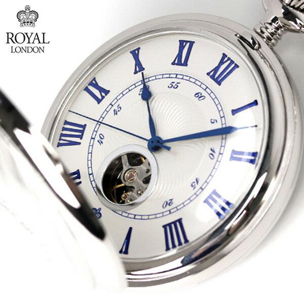 ロイヤルロンドン 懐中時計 手巻き 90051-01 ROYAL LONDON ポケットウォッチ スケルトン 時計