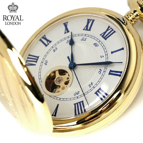 ロイヤルロンドン 懐中時計 手巻き 90051-02 ROYAL LONDON ポケットウォッチ スケルトン×ゴールド 時計