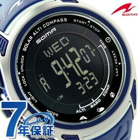 ソーマ アウトドアウォッチ ソーラー ライドワン 限定モデル NS24702 SOMA 腕時計 ブラック×ネイビー 時計