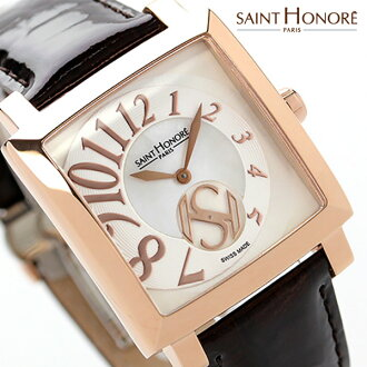 Saint Honore Orsay Carré medium made in Switzerland SN7620178YBBR SAINT HONORE ladies watch Quartz White Shell x brown leather belt