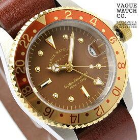 ヴァーグウォッチ 腕時計 メンズ GMT ブラウン ジーエムティー ブラウン レザーベルト VAGUE WATCH Co. BG-L-001 時計