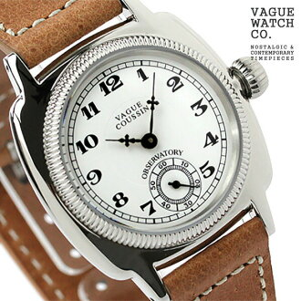Vague watch watch mens small second coussin white x brown leather belt VAGUE WATCH Co. CO-L-001
