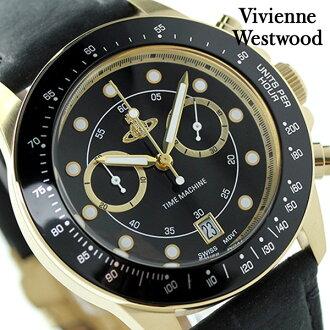 維維恩·維斯特伍德酒吧二罐子計時儀VV118BKBK Vivienne Westwood人手錶石英黑色皮革皮帶