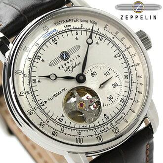 제페린 100주년 기념 모델 오픈 하트 자동감김7662-1 Zeppelin 맨즈 손목시계 아이보리×암갈색 레더 벨트